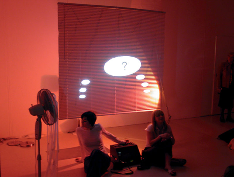 CREATIVE REVIEW, Jenny Hogarth and Kim Coleman, 2005, performance still, Glasgow Project Room. Photo: Map Magazine
