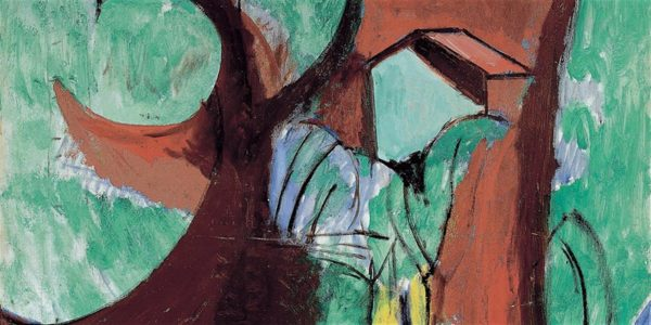Abstract painting of a garden with large trees, and a house in the background